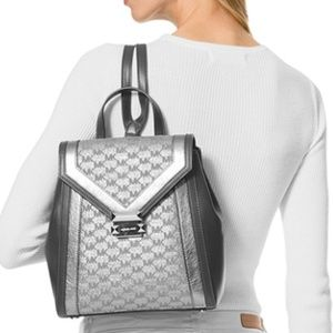 d0bcd64b47e3 Michael Kors Accessories - MK Whitney Backpack & Wallet Metallic Silver
